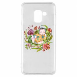 Чехол для Samsung A8 2018 Baby and flowers