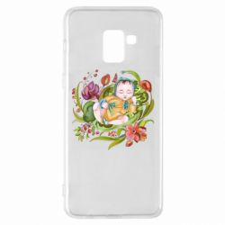Чехол для Samsung A8+ 2018 Baby and flowers