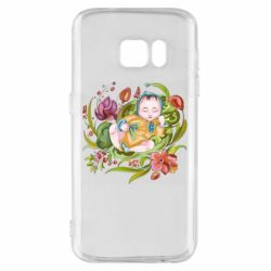 Чехол для Samsung S7 Baby and flowers