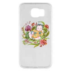 Чехол для Samsung S6 Baby and flowers
