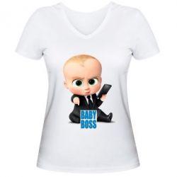 Женская футболка с V-образным вырезом Baby Boss 2