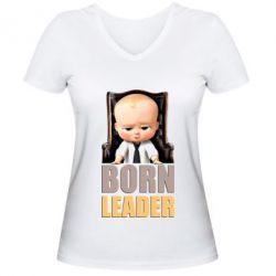 Женская футболка с V-образным вырезом Baby Boss leader