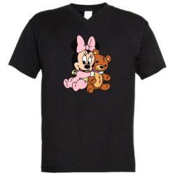Мужская футболка  с V-образным вырезом Baby minnie and bear