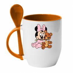 Кружка с керамической ложкой Baby minnie and bear