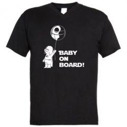 Мужская футболка  с V-образным вырезом Baby on board 1