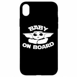 Чехол для iPhone XR Baby on board yoda