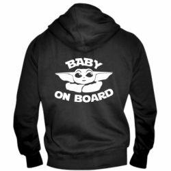 Мужская толстовка на молнии Baby on board yoda