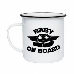 Кружка эмалированная Baby on board yoda