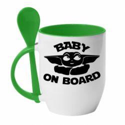 Кружка с керамической ложкой Baby on board yoda