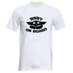Мужская спортивная футболка Baby on board yoda