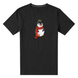 Чоловіча стрейчева футболка Baby penguin with a scarf