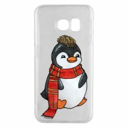 Чохол для Samsung S6 EDGE Baby penguin with a scarf
