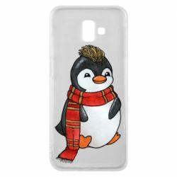 Чохол для Samsung J6 Plus 2018 Baby penguin with a scarf