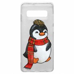 Чохол для Samsung S10+ Baby penguin with a scarf