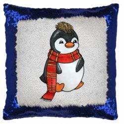 Подушка-хамелеон Baby penguin with a scarf