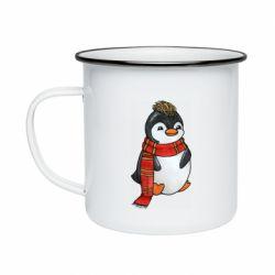 Кружка емальована Baby penguin with a scarf