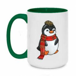 Кружка двоколірна 420ml Baby penguin with a scarf