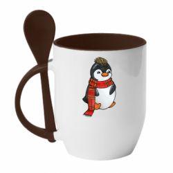 Кружка з керамічною ложкою Baby penguin with a scarf