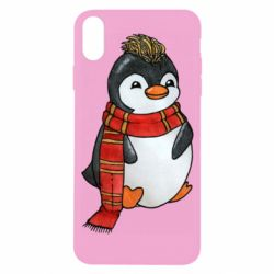 Чохол для iPhone X/Xs Baby penguin with a scarf
