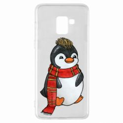 Чохол для Samsung A8+ 2018 Baby penguin with a scarf