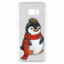 Чохол для Samsung S7 EDGE Baby penguin with a scarf