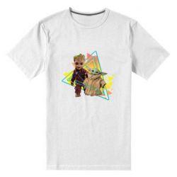 Мужская стрейчевая футболка Baby yoda and baby groot
