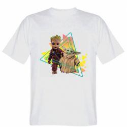 Мужская футболка Baby yoda and baby groot