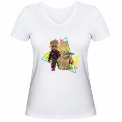 Женская футболка с V-образным вырезом Baby yoda and baby groot