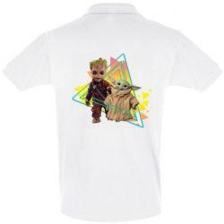 Мужская футболка поло Baby yoda and baby groot