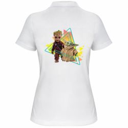 Женская футболка поло Baby yoda and baby groot