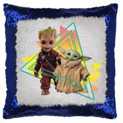 Подушка-хамелеон Baby yoda and baby groot