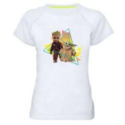 Женская спортивная футболка Baby yoda and baby groot