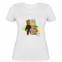 Женская футболка Baby yoda and baby groot