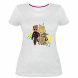 Женская стрейчевая футболка Baby yoda and baby groot