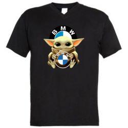 Чоловіча футболка з V-подібним вирізом Baby yoda bmw