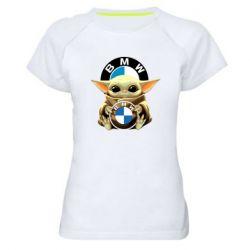 Жіноча спортивна футболка Baby yoda bmw