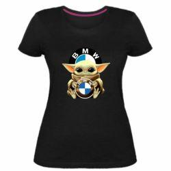 Жіноча стрейчева футболка Baby yoda bmw