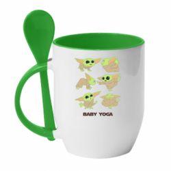 Кружка с керамической ложкой Baby Yoga