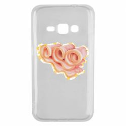 Чехол для Samsung J1 2016 Bacon with flowers on the background