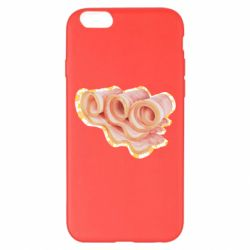 Чехол для iPhone 6 Plus/6S Plus Bacon with flowers on the background