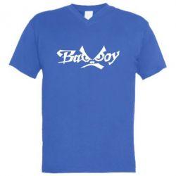 Мужская футболка  с V-образным вырезом Bad Boy Logo - FatLine