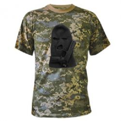 Камуфляжная футболка Балаклава с пистолетом - FatLine