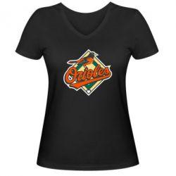 Женская футболка с V-образным вырезом Baltimore Orioles