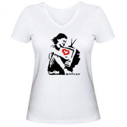 Женская футболка с V-образным вырезом Bancsy TV - FatLine
