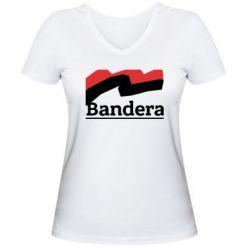 Женская футболка с V-образным вырезом Bandera - FatLine