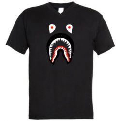 Мужская футболка  с V-образным вырезом Bape shark logo
