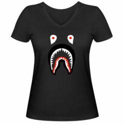 Женская футболка с V-образным вырезом Bape shark logo
