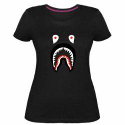 Женская стрейчевая футболка Bape shark logo