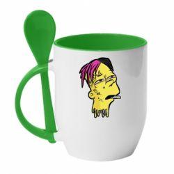 Кружка с керамической ложкой Bart as Lil Peep