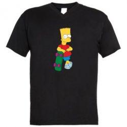 Мужская футболка  с V-образным вырезом Bart Simpson - FatLine